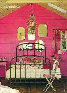 .hot pink rustic bedroom