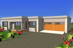 Flat Roof Design, House Roof Design, Flat Roof House Designs, Village House Design, Facade House, Round House Plans, Tuscan House Plans, My House Plans, Family House Plans
