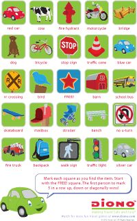 Play Travel Bingo from Diono! It's a great game for keeping kids busy and happy in the car. The first one to get five in a row wins!