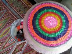 Today i make a new cover for my footstool! #crochet