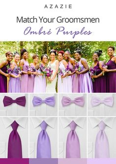 Matching your wedding party is a breeze with our colors to choose from! Shop our handsome groomsmen accessories from ties, bowties, and pocket squares for a one stop shop! Purple Groomsmen, Bridesmaids And Groomsmen, Wedding Bridesmaid Dresses, Wedding Attire, Bridesmaid Dresses Purple Lilac, Groomsmen Ties, Lilac Wedding, Wedding Colors, Dream Wedding