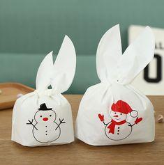 Christmas 50pcs Cute Easter Bunny Cookies Bag Wedding Decoration Snow Man Ear Plastic Candy Bag