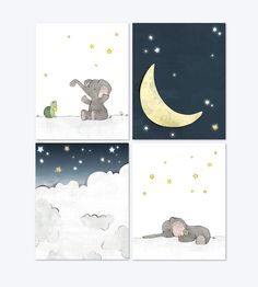 Elephant Nursery Art - Moon and Stars Art Prints, Grey Navy Nursery Prints, Kids Room Wall Art, Children Moon Decor - Set of 4 Baby Boy Room Decor, Baby Room Art, Kids Room Wall Art, Baby Boy Rooms, Nursery Wall Art, Kids Rooms, Nursery Decor, Elephant Nursery Art, Moon Nursery