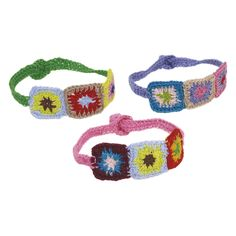 Hand Crochet Bracelet with Squares in Assorted Colours - Rice A/S