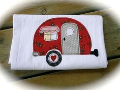 Kitchen Flour Sack Towel retro appliqued camper by BSoriginals