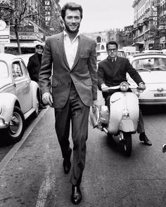 35-year Clint Eastwood skateboarding on the streets of Rome, Italy, 1965