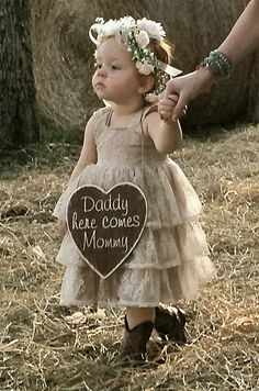 Custom Stained Engraved Wooden Heart Sign - Rustic Wedding - Flower Girl Basket Alternative - Daddy here comes Mommy - Rustic/Country Chic
