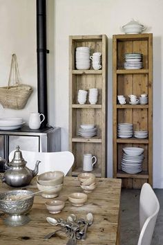 scaffold board shelves for crockery, add in dowel rods to hole plates too.