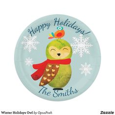 Shop Winter Holidays Owl Paper Plate created by OpusPosh. Holiday Cards, Christmas Cards, Christmas Paper Plates, Paper Owls, Party Tableware, White Elephant Gifts, Winter Holidays, Biodegradable Products, Custom Design