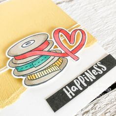 Super cute details from my easy happiness card! Just Ink, Alcohol Markers, Subtle Textures, Color Card, Free Paper, Diy Craft Projects, Greeting Cards Handmade, Stamping, Card Making