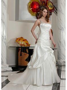 Satin Beaded One-Shoulder Strap Softly Curved Neckline Rouched Bodice Wedding Dress