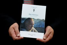 Rik Mayall funeral The order of service for Rik Mayall whose funeral was held at St George's church in Dittisham, Devon. Funeral Order Of Service, Jennifer Saunders, Dawn French, Signature Book, Rik Mayall, Funeral Flowers, Young Ones, Saint George, Devon