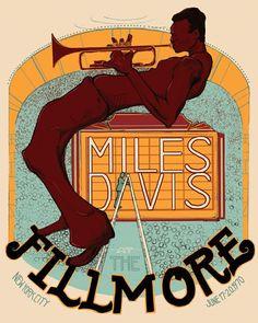 Poster promoting Miles Davis at the Fillmore, San Francisco (artwork by Jake Miles Davis Poster, Jazz Artists, Jazz Musicians, Soul Jazz, Tour Posters, Band Posters, Eddie Vedder, The Black Keys, Jazz Poster