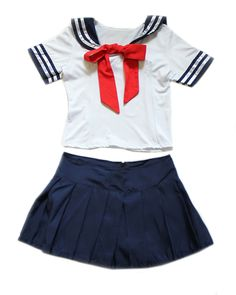 A sexy Japanese inspired 2 piece school girl costume that features a stunning red bow tie.