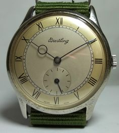 Breitling Men Watch Vintage From 1940s Hand Winding Swiss Moon Hands 2 Tone Dial #Breitling #LuxuryDressStyles