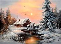 Kunst LA A Look At Obesity If you thought being obese is being the Winter Landscape, Landscape Art, Landscape Paintings, Christmas Landscape, Winter Painting, Winter Art, Winter Snow, Christmas Paintings, Christmas Art