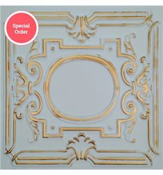 TD15 Faux Tin Ceiling Tile - White Matte Gold