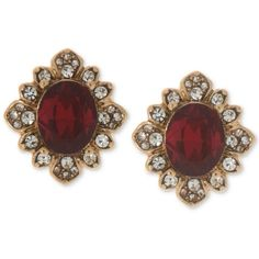 Marchesa Gold-Tone Pave & Colored Stone Stud Earrings (2.605 RUB) ❤ liked on Polyvore featuring jewelry, earrings, red, red stone jewelry, stone jewelry, marchesa earrings, antique jewelry and gold tone earrings