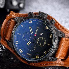 CURREN Mens Watches Top Brand Luxury Leather Analog Quartz Men Watch  Military Sport Male Waterproof Wristwatch afd53691729