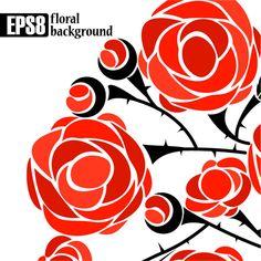 Rose background 05 450x450 バレンタインカードのデザインに!バラのベクターイラスト素材まとめ(AI・EPS)   Free Style