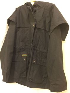 Mens DOWN UNDER HOODED OILSKIN Wax Cotton Parka DUSTER riding Jacket Coat Large #DOWNUNDER #BasicJacket