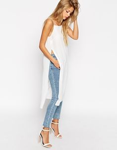 Enlarge ASOS Longline High Neck Cami Top with Side Splits