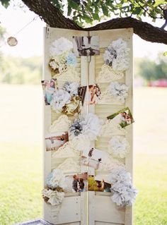 Cute way to display photos at a wedding. Photography by ryanrayphoto.com