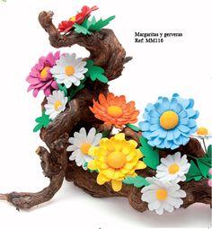 Margaritas y Gerberas - Revista Manos Maravillosas Fofuchas 6