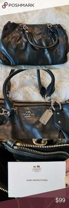 Black Leather coach purse Gorgeous black genuine leather coach purse in good condition.  There is a dent near the front logo and a few minor scratches but otherwise great! Well cared for and from a smoke and animal free home! 🎀🎀 Coach Bags Satchels