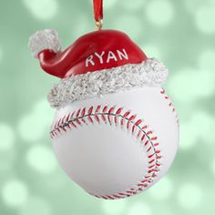 Personalized Baseball with Santa Hat Ornament