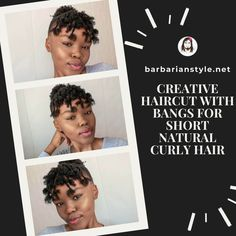 Searching for bangs curly hairstyles? Check hairstyles with bangs for natural curly hair. Choose the one that will fit you and create a superb look! Short Natural Curly Hair, Curly Hair With Bangs, Curly Hair Cuts, Short Curly Hair, Perfect Image, Perfect Photo, Creative Haircuts, Haircuts With Bangs, Hair Gel