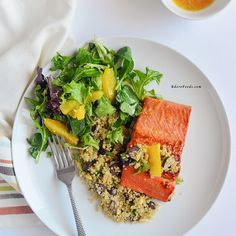 30 Minute Orange Glazed Salmon with Quinoa Recipe Main Dishes with water, quinoa, pitted kalamata olives, pinenuts, salmon fillets, olive oil, honey, grated orange, fresh orange juice, dijon mustard, minced garlic, salt, pepper