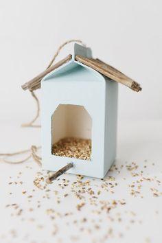 DIY Milk Carton Bird House Feeders | Little Peanut Magazine
