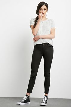 The Sunset - A pair of mid-rise skinny jeans featuring a five-pocket construction and a zip fly.