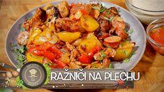 Rychlý a velice chutný pokrm, který má u nás velkou oblibu! Ražniči můžete grilovat klasicky na špejli nebo pro lenochy oblíbená verze - v troubě. Nic složitého, výsledek fantastický! Tak na co čekáte? Hurá do kuchyně! Přeji Vám dobrou chuť, Brepta. Kung Pao Chicken, Potato Salad, Pork, Potatoes, Treats, Ethnic Recipes, Sweet, Tube, Kale Stir Fry