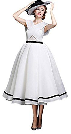 Angel Formal Dresses Women's A-Line V Neck Tea Length Organza Prom Evening Wedding Dresses at Amazon Women's Clothing store: