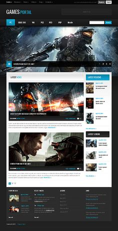 Games Portal Website Templates by Mercury | Gaming Website | Pinterest