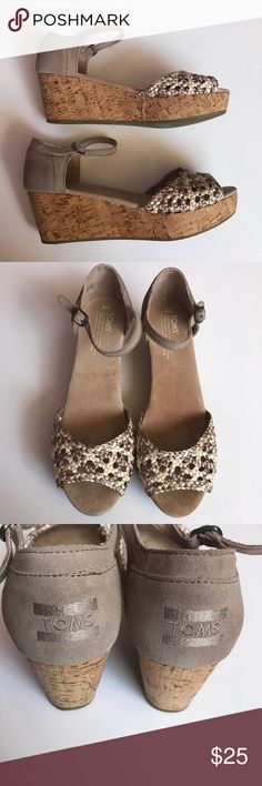 Toms Platform Wedge Cork Woven Top Sandals 9 Toms Platform wedge cork sandals with ankle strap. Neutral colored woven top. Good condition! Size 9. Toms Shoes Wedges
