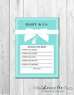INSTANT DOWNLOAD - Baby & Co - Well Wishes for Baby - Tiffany Theme - DIY - Printable on Etsy, $4.00