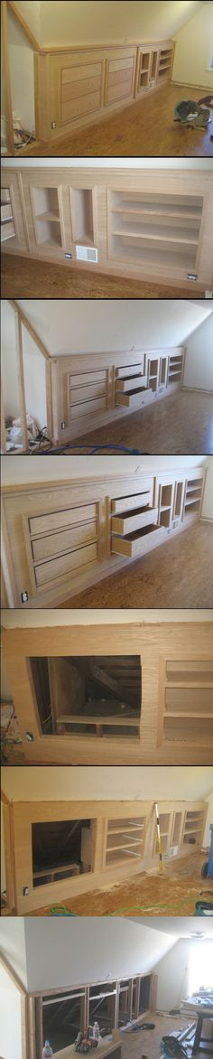 Built-in knee wall cabinetry.