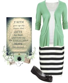 """Mint and Stripes"" by snickersmama ❤ liked on Polyvore"