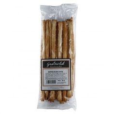 Elaborados con harina de trigo y aceite de oliva virgen extra y sal. 50grs. de crujientes bastones de pan perfectos para tus comidas y aperitivos