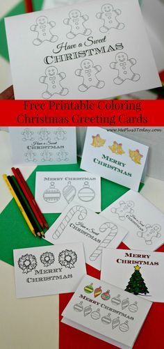Christmas Coloring Pages - Free Printable Greeting Cards - Me Plus 3 Today Free Printable Christmas Cards, Printable Christmas Coloring Pages, Printable Cards, Christmas Greeting Cards, Christmas Greetings, Christmas Traditions, Preschool Christmas, Kids Christmas, Christmas Crafts