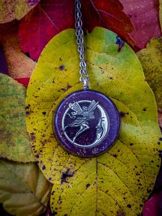 Orgonite Purple Fairy & Moon Necklace  Free by FountainOfSpirit