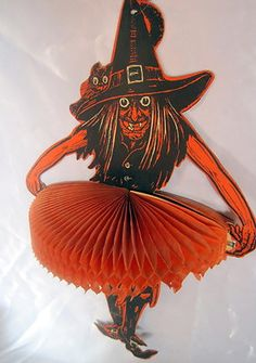 Vintage Halloween Honeycomb Decoration ~ Large Beistle Witch