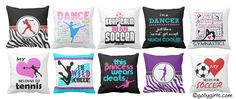 Check out these EXCLUSIVE Golly Girls throw pillows!Designs are specific togymnastics, cheerleading, dance, figure skating, soccer, tennis, basketball, softb