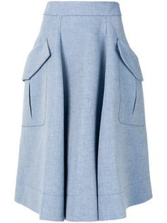 Chambray midi skirt Powder blue cotton-linen blend Chambray midi skirt from Carven. Modest Skirts, Casual Skirts, Midi Skirts, Pink Midi Skirt, Midi Skirt With Pockets, Chambray Skirt, Fashion Drawing Dresses, Calf Length Skirts, Hijab Fashion Inspiration