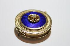 Vintage Solid Perfume Locket Pendant Compact Pendant Florenza