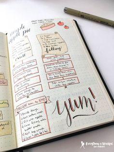 diy recipe book bullet journal