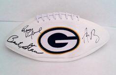 Aaron Rodgers, Brett Favre & Bart Starr Signed Packers Football